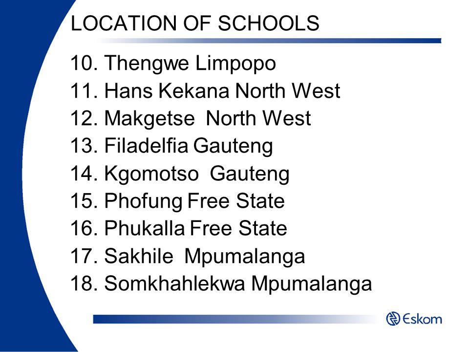LOCATION OF SCHOOLS 10. Thengwe Limpopo 11. Hans Kekana North West 12. Makgetse North West 13. Filadelfia Gauteng 14. Kgomotso Gauteng 15. Phofung Fre