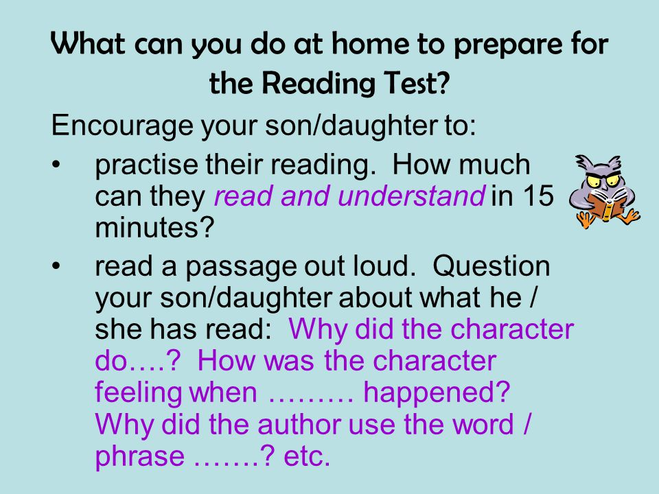 What can you do at home to prepare for the Reading Test.