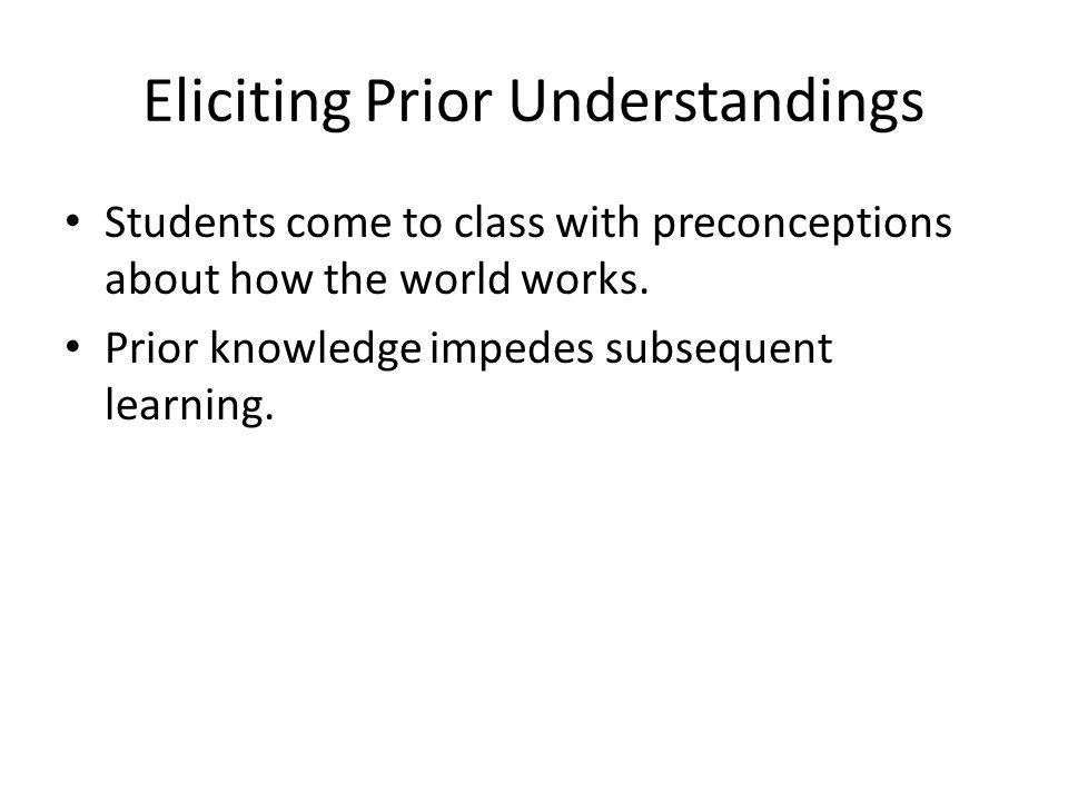Eliciting Prior Understandings Students come to class with preconceptions about how the world works.