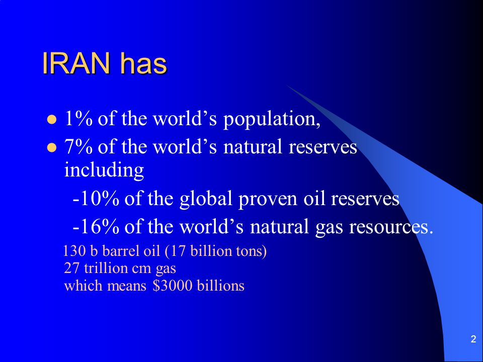 2 IRAN has 1% of the worlds population, 7% of the worlds natural reserves including -10% of the global proven oil reserves -16% of the worlds natural