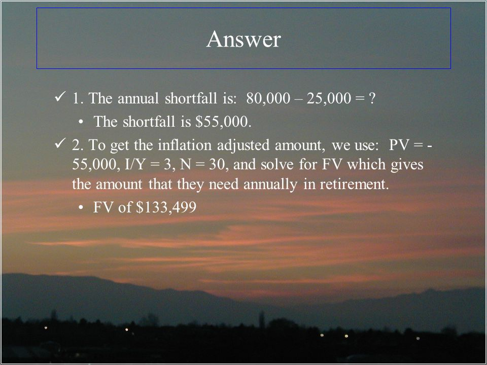 Answer 1.The annual shortfall is: 80,000 – 25,000 = .