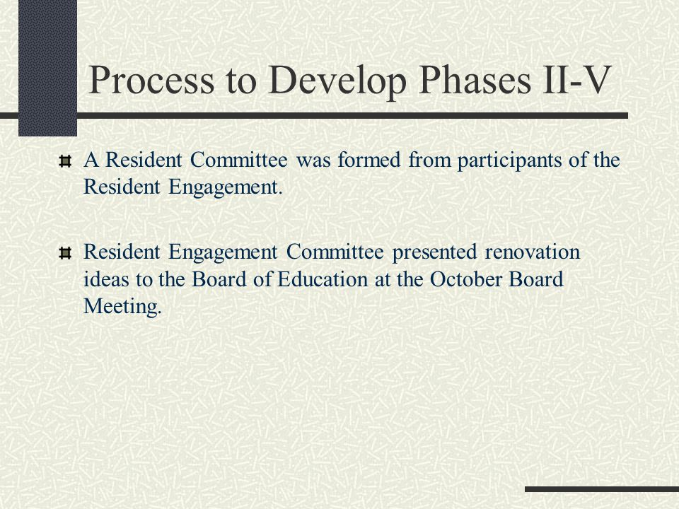 Process to Develop Phases II-V A Resident Committee was formed from participants of the Resident Engagement.