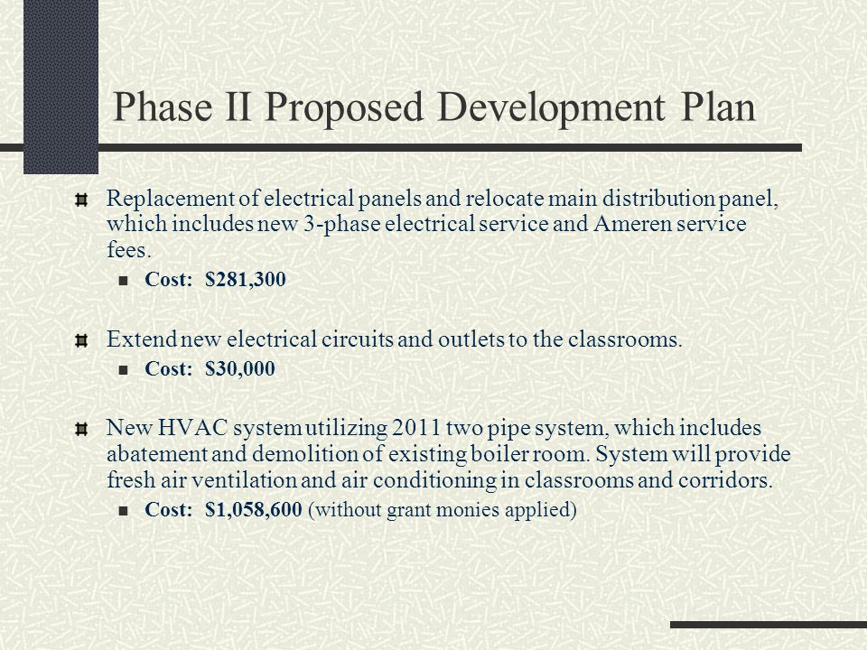 Phase II Proposed Development Plan Replacement of electrical panels and relocate main distribution panel, which includes new 3-phase electrical service and Ameren service fees.