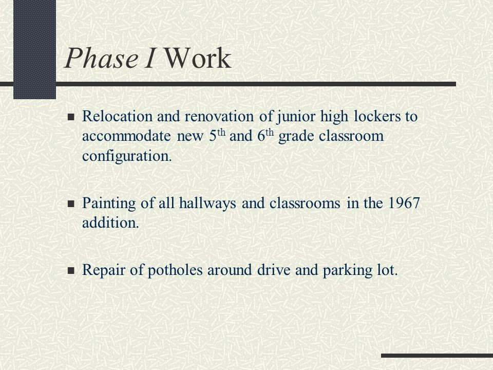 Phase I Work Relocation and renovation of junior high lockers to accommodate new 5 th and 6 th grade classroom configuration.