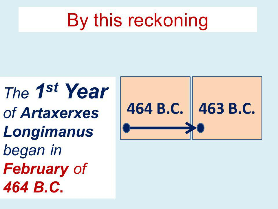 464 B.C.463 B.C. The 1 st Year of Artaxerxes Longimanus began in February of 464 B.C. By this reckoning