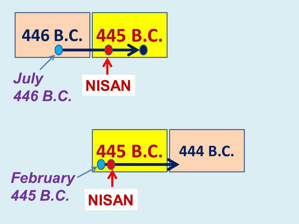 444 B.C. 445 B.C. NISAN 445 B.C. 446 B.C. NISAN July 446 B.C. February 445 B.C.