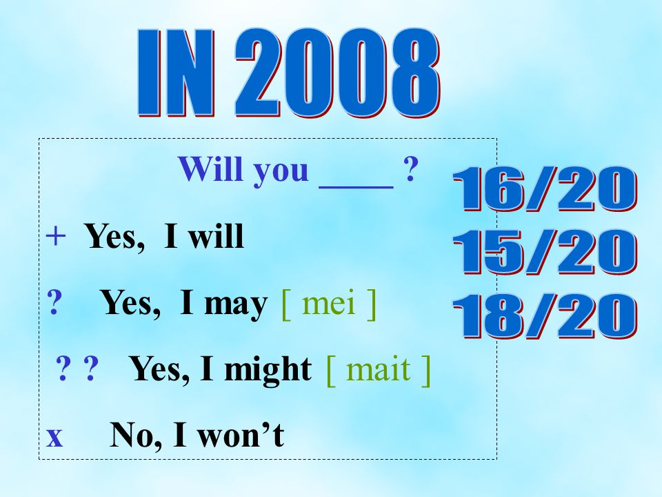 Will you ____ + Yes, I will Yes, I may [ mei ] Yes, I might [ mait ] x No, I wont