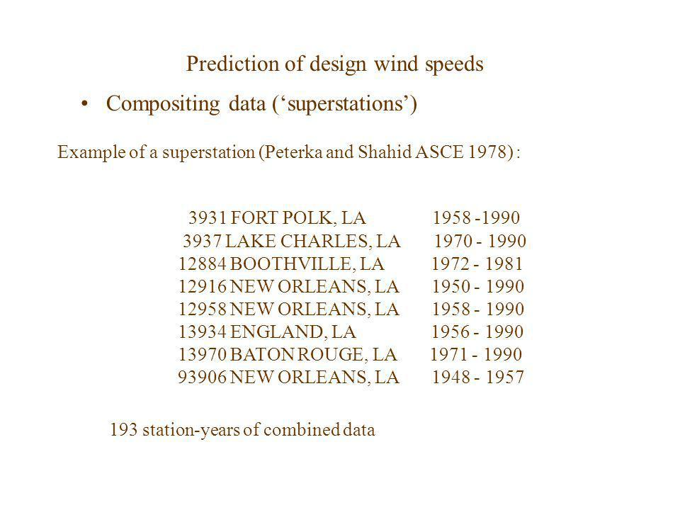 Prediction of design wind speeds Compositing data (superstations) Example of a superstation (Peterka and Shahid ASCE 1978) : 3931 FORT POLK, LA 1958 -