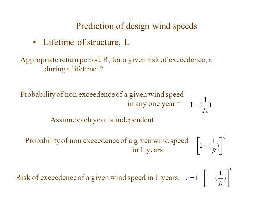 Prediction of design wind speeds Lifetime of structure, L Appropriate return period, R, for a given risk of exceedence, r, during a lifetime ? Assume
