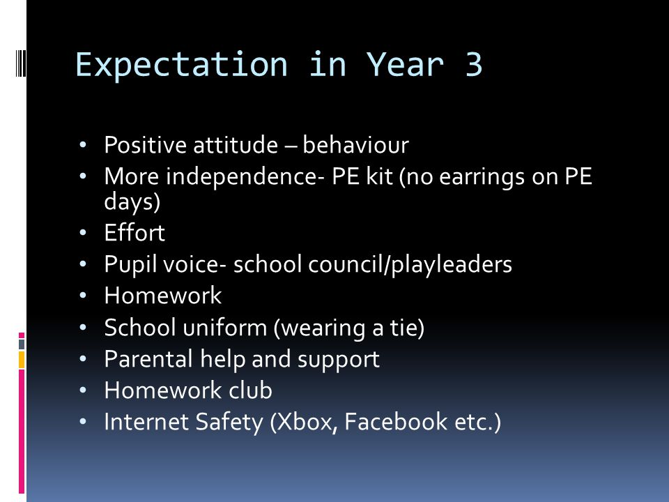 Expectation in Year 3 Positive attitude – behaviour More independence- PE kit (no earrings on PE days) Effort Pupil voice- school council/playleaders Homework School uniform (wearing a tie) Parental help and support Homework club Internet Safety (Xbox, Facebook etc.)