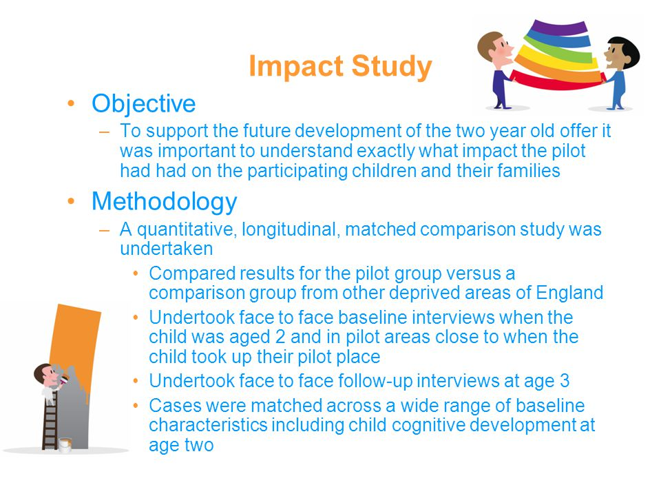 Impact Study Objective –To support the future development of the two year old offer it was important to understand exactly what impact the pilot had had on the participating children and their families Methodology –A quantitative, longitudinal, matched comparison study was undertaken Compared results for the pilot group versus a comparison group from other deprived areas of England Undertook face to face baseline interviews when the child was aged 2 and in pilot areas close to when the child took up their pilot place Undertook face to face follow-up interviews at age 3 Cases were matched across a wide range of baseline characteristics including child cognitive development at age two