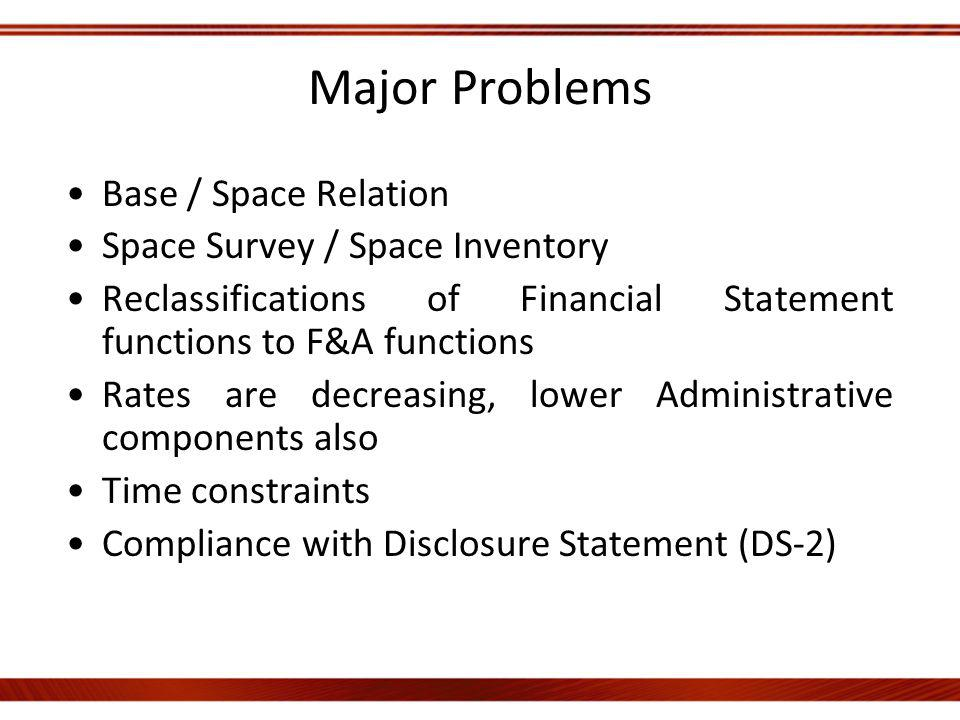 Major Problems Base / Space Relation Space Survey / Space Inventory Reclassifications of Financial Statement functions to F&A functions Rates are decreasing, lower Administrative components also Time constraints Compliance with Disclosure Statement (DS-2)