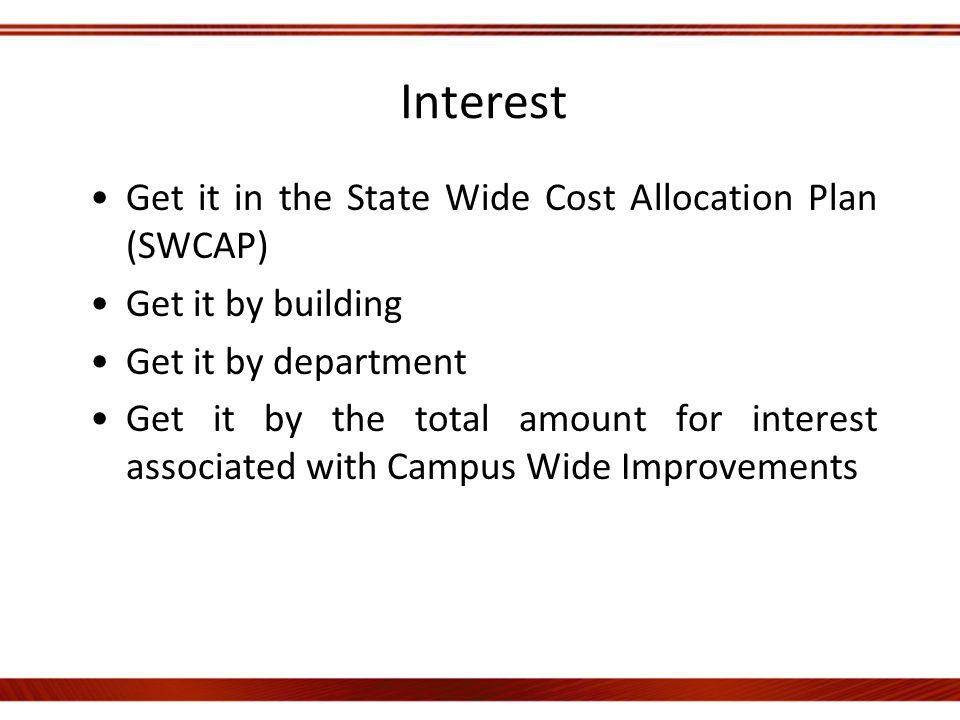 Interest Get it in the State Wide Cost Allocation Plan (SWCAP) Get it by building Get it by department Get it by the total amount for interest associated with Campus Wide Improvements