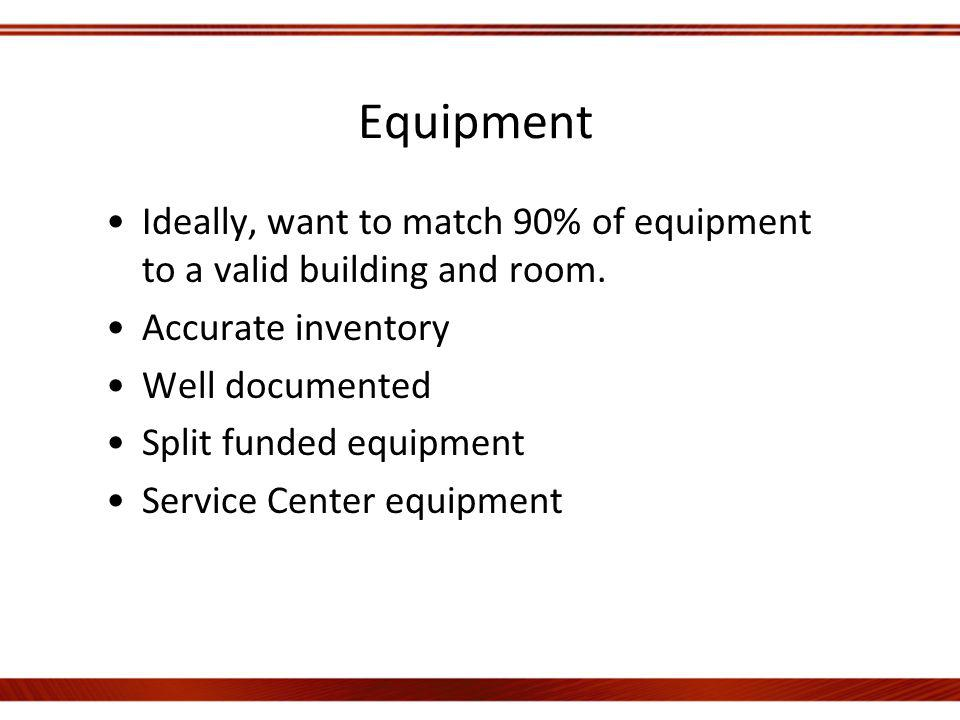 Equipment Ideally, want to match 90% of equipment to a valid building and room.