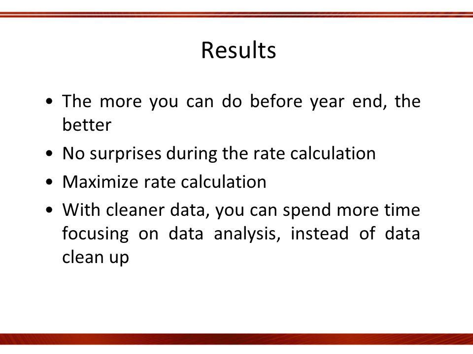 Results The more you can do before year end, the better No surprises during the rate calculation Maximize rate calculation With cleaner data, you can