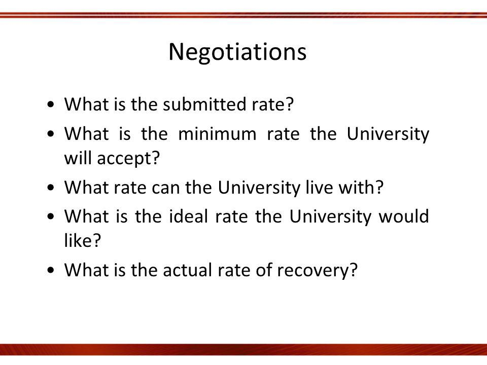 Negotiations What is the submitted rate. What is the minimum rate the University will accept.