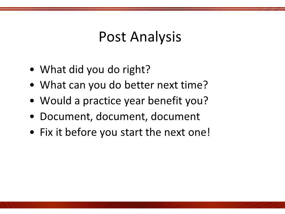 Post Analysis What did you do right. What can you do better next time.