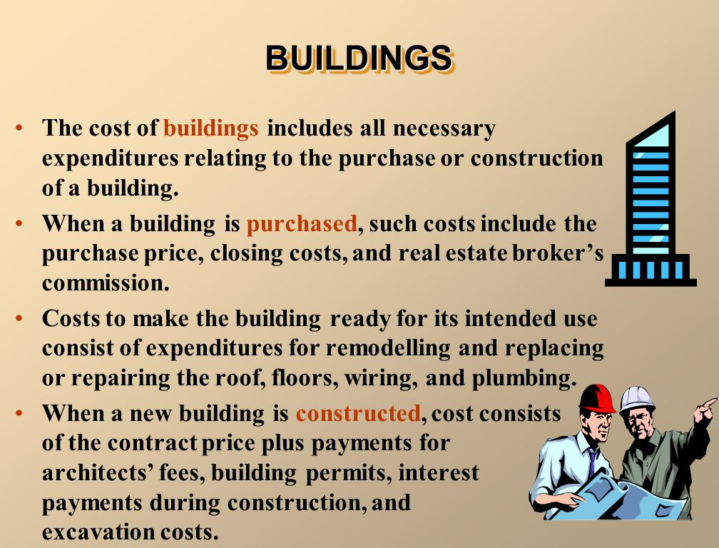 The cost of buildings includes all necessary expenditures relating to the purchase or construction of a building. When a building is purchased, such c