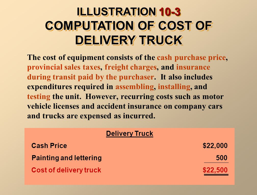 ILLUSTRATION 10-3 COMPUTATION OF COST OF DELIVERY TRUCK The cost of equipment consists of the cash purchase price, provincial sales taxes, freight cha