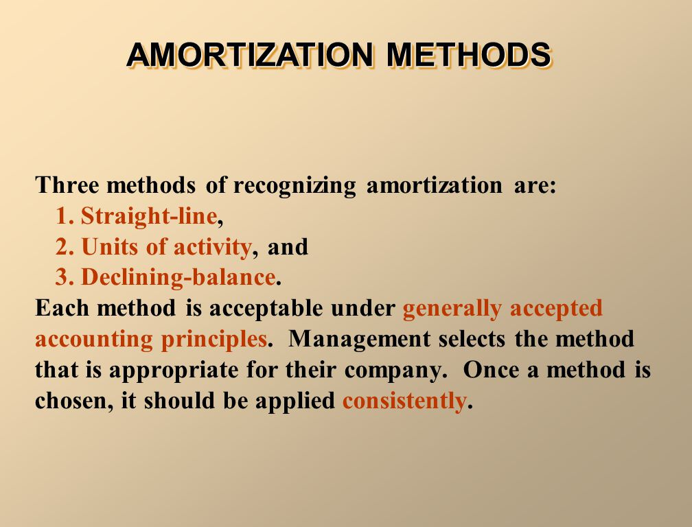 AMORTIZATION METHODS Three methods of recognizing amortization are: 1. Straight-line, 2. Units of activity, and 3. Declining-balance. Each method is a