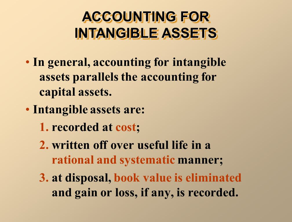 In general, accounting for intangible assets parallels the accounting for capital assets. Intangible assets are: 1. recorded at cost; 2. written off o