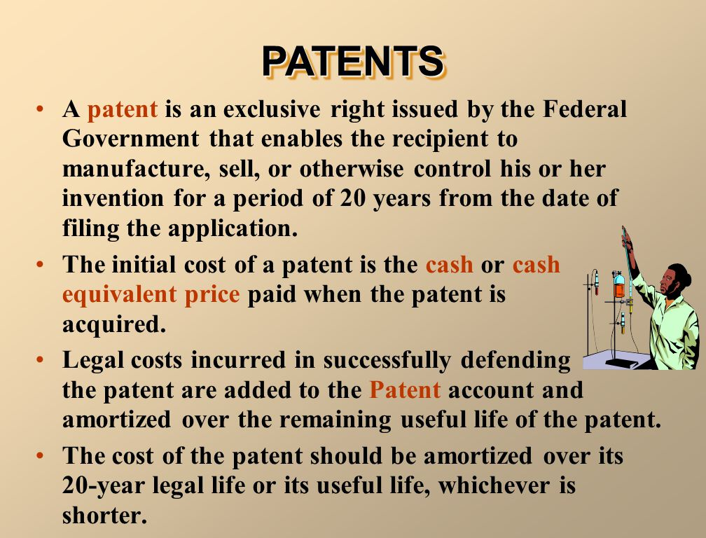A patent is an exclusive right issued by the Federal Government that enables the recipient to manufacture, sell, or otherwise control his or her inven