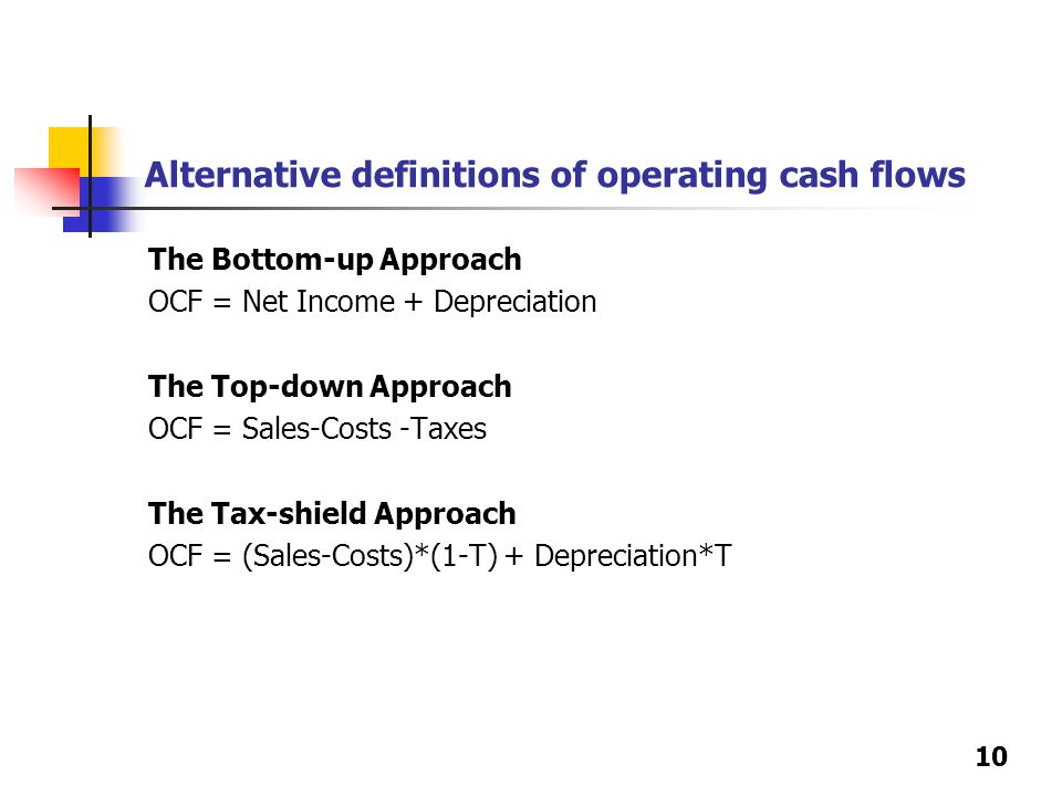 10 Alternative definitions of operating cash flows The Bottom-up Approach OCF = Net Income + Depreciation The Top-down Approach OCF = Sales-Costs -Tax
