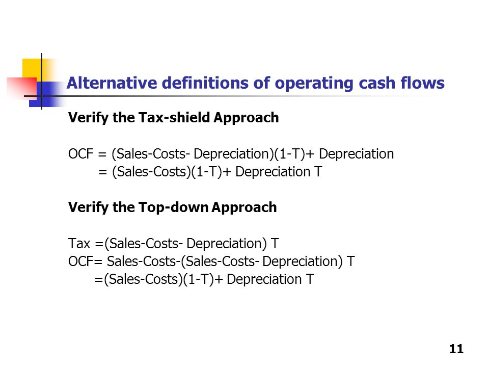 11 Alternative definitions of operating cash flows Verify the Tax-shield Approach OCF = (Sales-Costs- Depreciation)(1-T)+ Depreciation = (Sales-Costs)