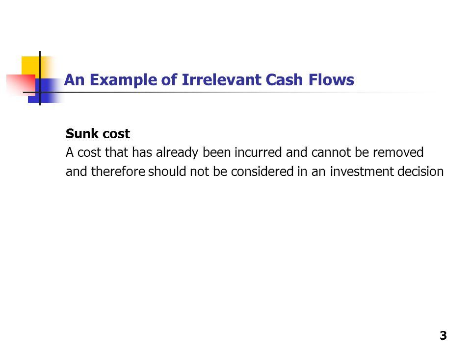 3 An Example of Irrelevant Cash Flows Sunk cost A cost that has already been incurred and cannot be removed and therefore should not be considered in