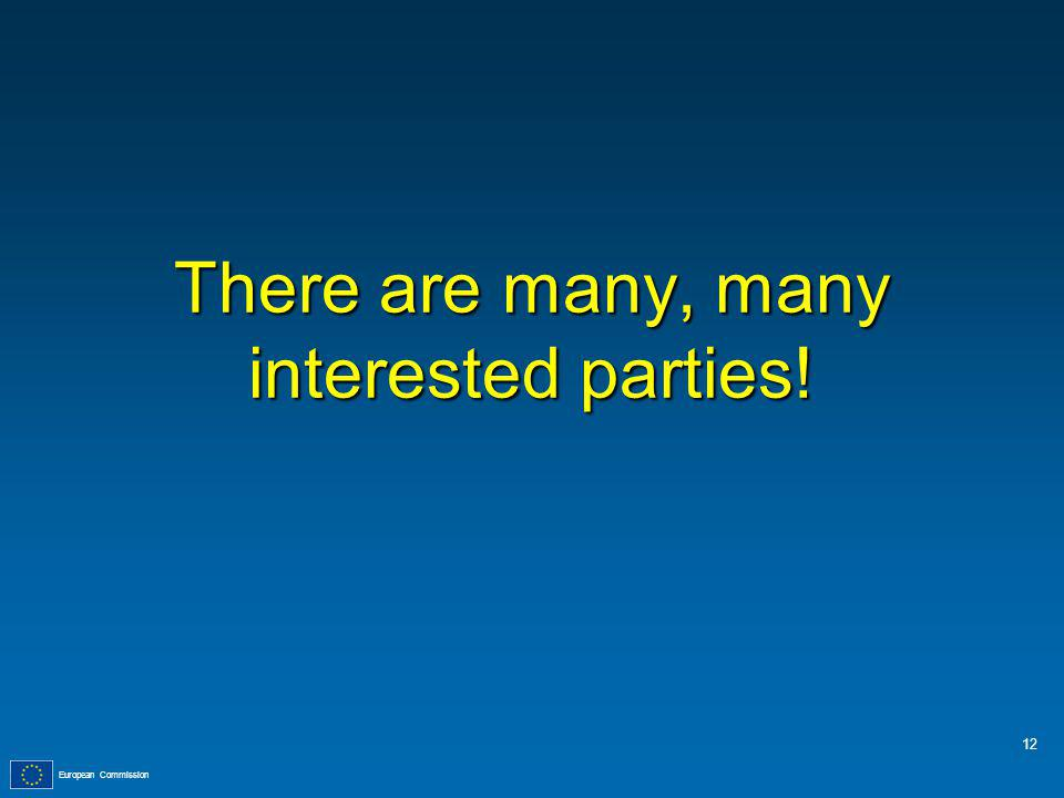 European Commission There are many, many interested parties! 12