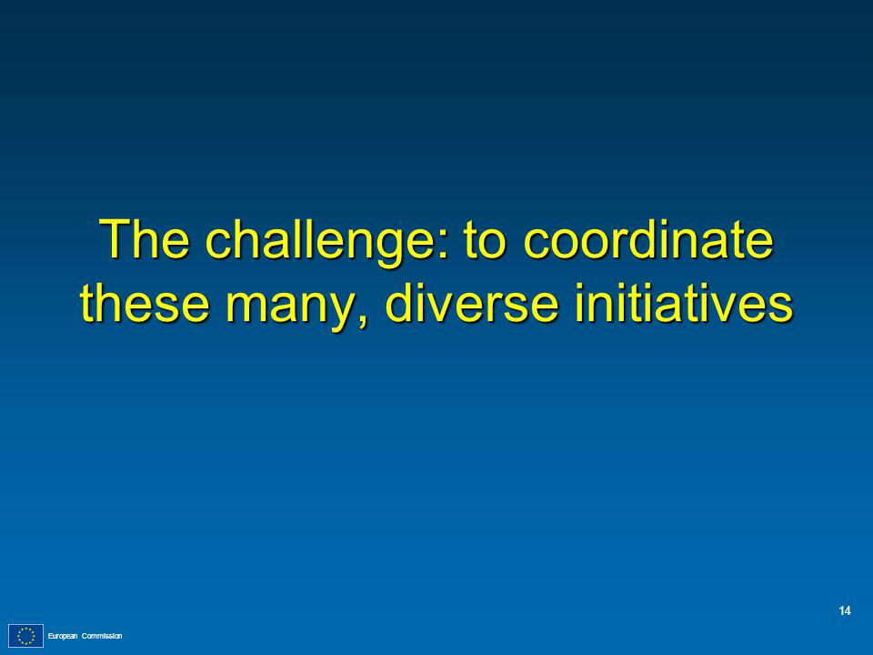European Commission The challenge: to coordinate these many, diverse initiatives 14