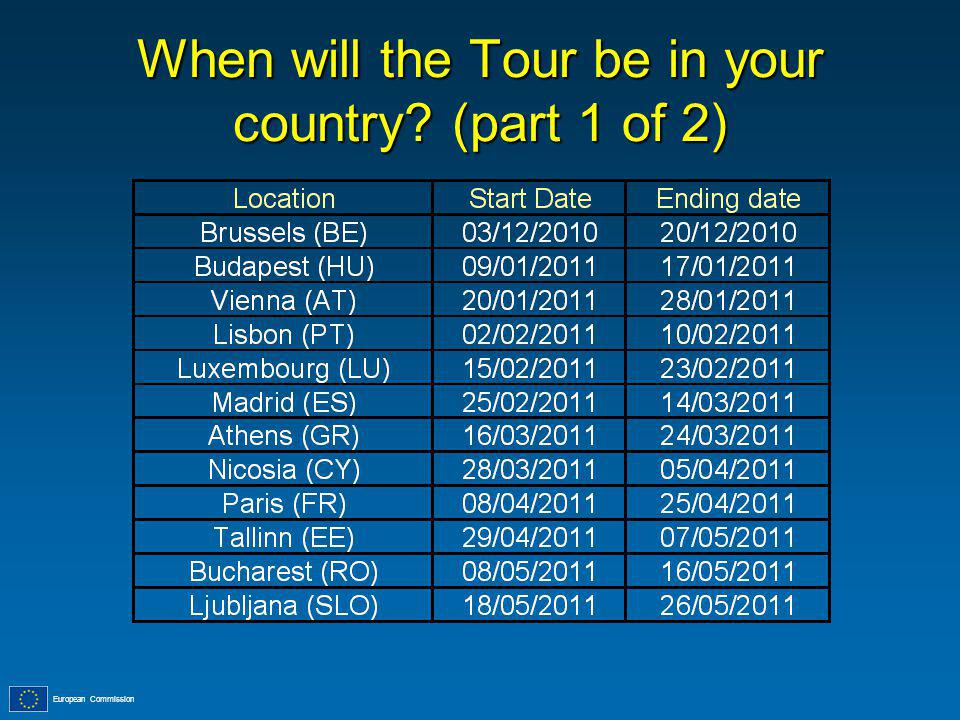 European Commission When will the Tour be in your country (part 1 of 2)