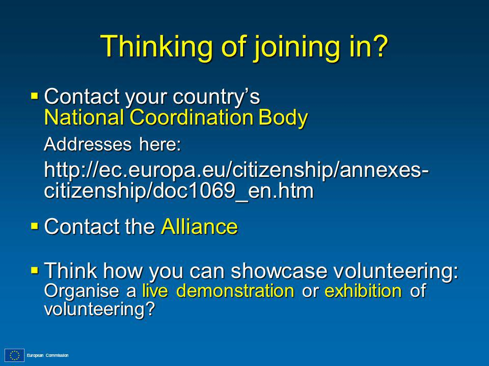 European Commission Thinking of joining in.