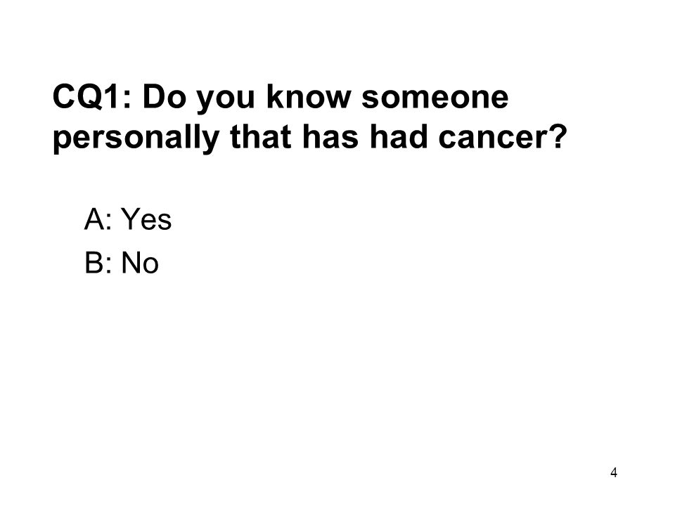 4 CQ1: Do you know someone personally that has had cancer? A: Yes B: No