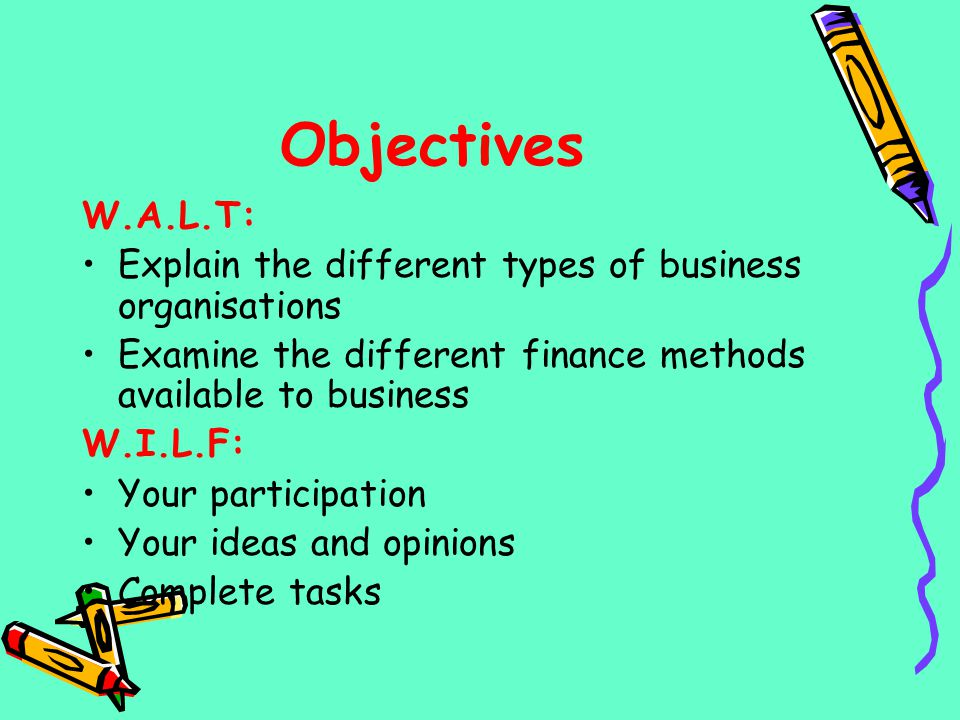 Objectives W.A.L.T: Explain the different types of business organisations Examine the different finance methods available to business W.I.L.F: Your pa