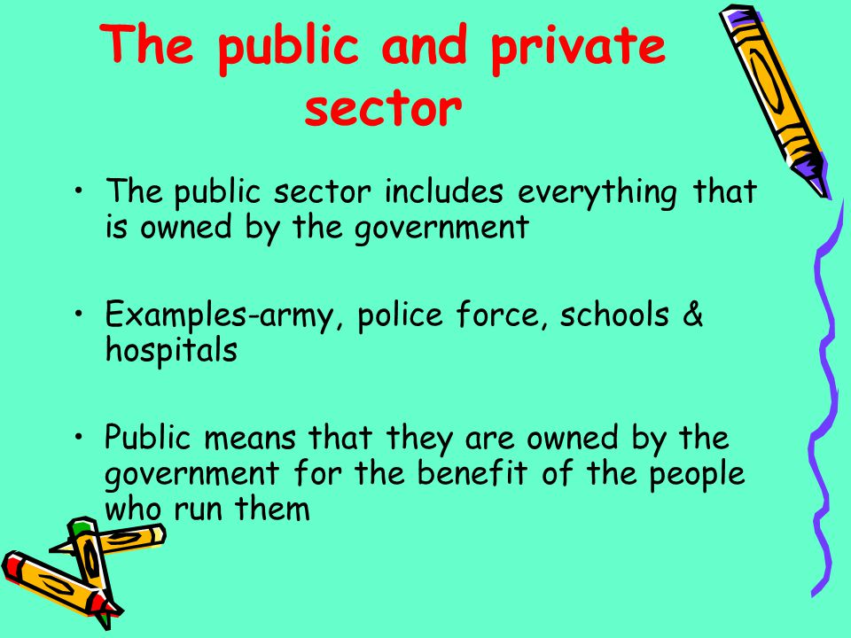 The public and private sector The public sector includes everything that is owned by the government Examples-army, police force, schools & hospitals P