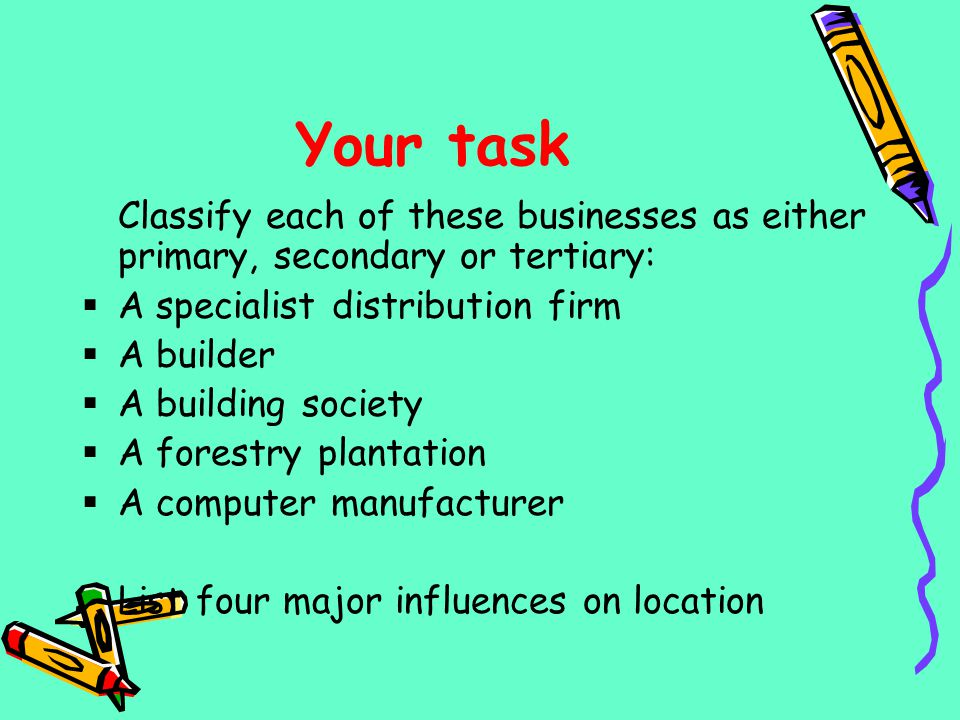 Your task Classify each of these businesses as either primary, secondary or tertiary: A specialist distribution firm A builder A building society A fo