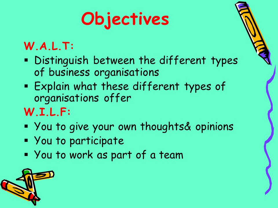 Objectives W.A.L.T: Distinguish between the different types of business organisations Explain what these different types of organisations offer W.I.L.