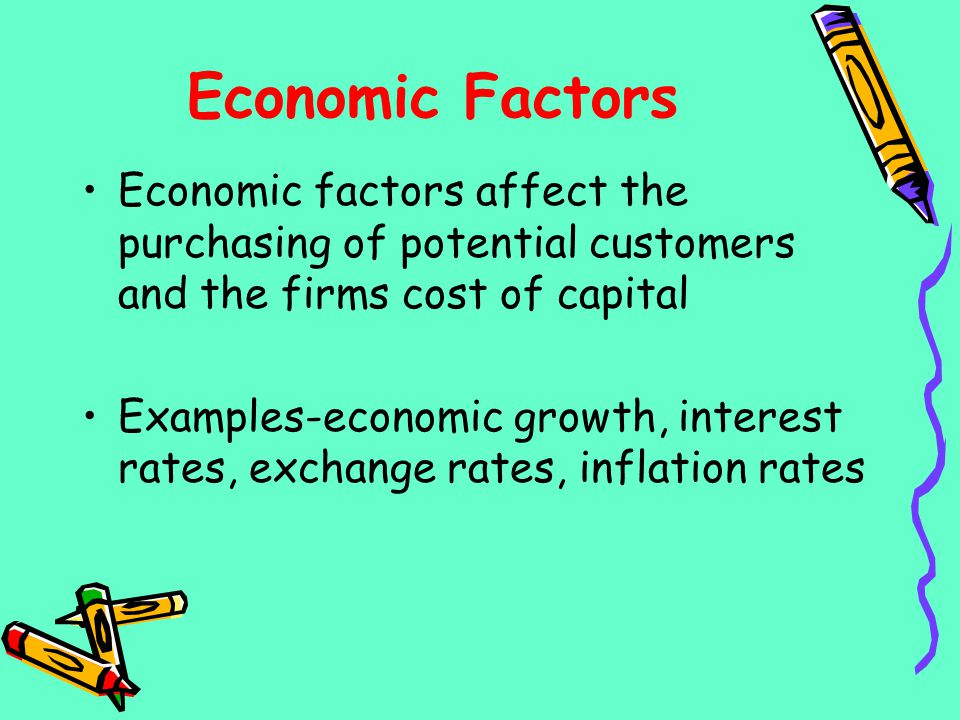 Economic Factors Economic factors affect the purchasing of potential customers and the firms cost of capital Examples-economic growth, interest rates,
