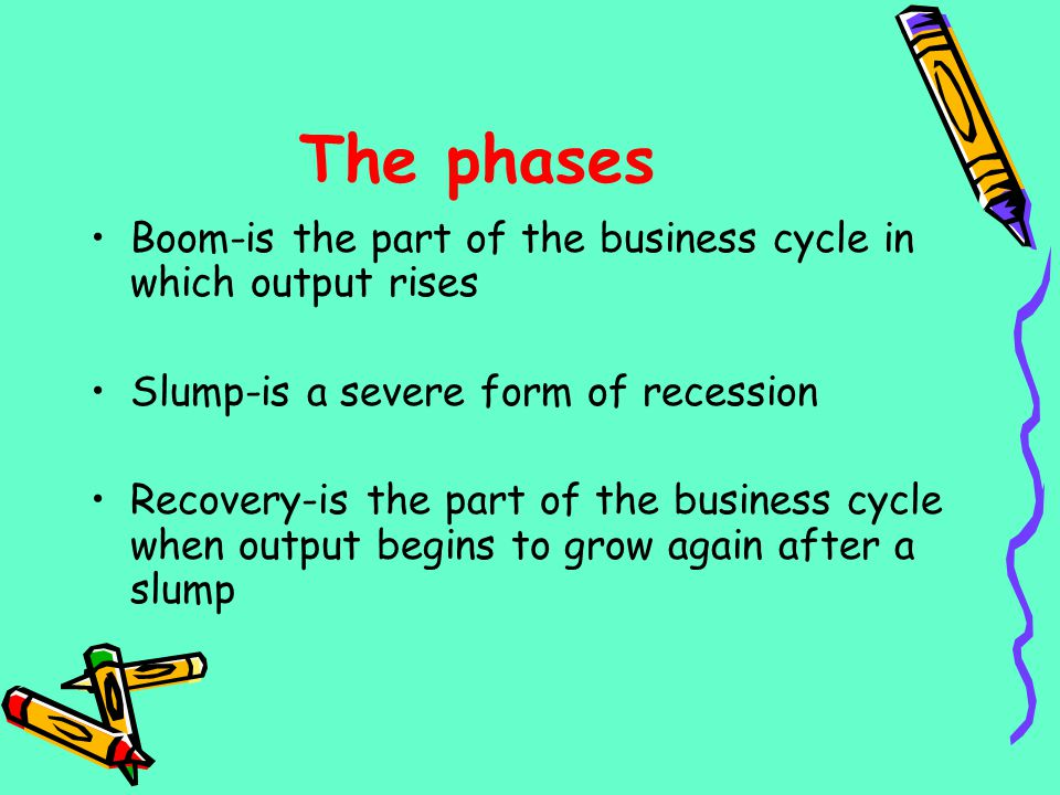 The phases Boom-is the part of the business cycle in which output rises Slump-is a severe form of recession Recovery-is the part of the business cycle