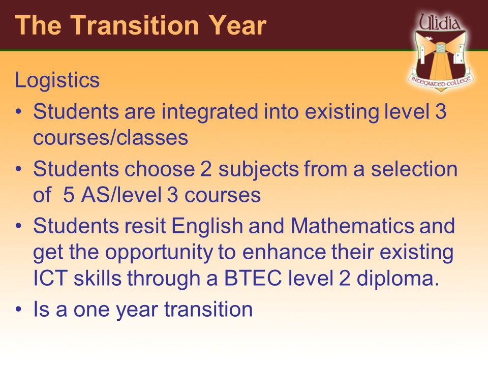 The Transition Year Logistics Students are integrated into existing level 3 courses/classes Students choose 2 subjects from a selection of 5 AS/level 3 courses Students resit English and Mathematics and get the opportunity to enhance their existing ICT skills through a BTEC level 2 diploma.