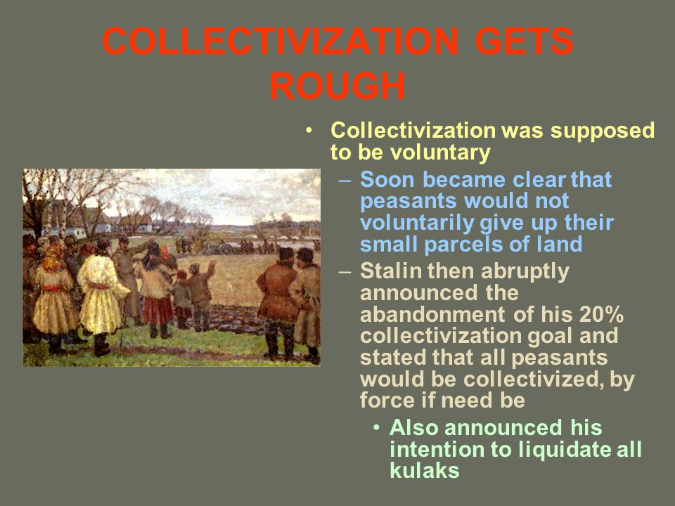 COLLECTIVIZATION GETS ROUGH Collectivization was supposed to be voluntary –Soon became clear that peasants would not voluntarily give up their small p