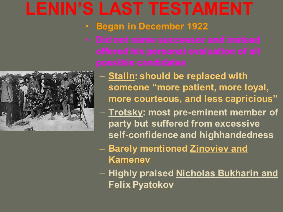 SOCIALISM IN ONE COUNTRY Stalins victory also had an ideological component Of the three views, only his had the most attraction for rank-and-file party members –The Right merely told people to bide their time –The Left made Russia and its Revolution seem ineffective and unimportant –Only Stalin offered a program and goal that could be achieved by Soviet efforts alone without dependence on developments elsewhere To underline this point, the 15 th Party Congress also adopted measures that ended NEP and began a new era of Five-Year Plans