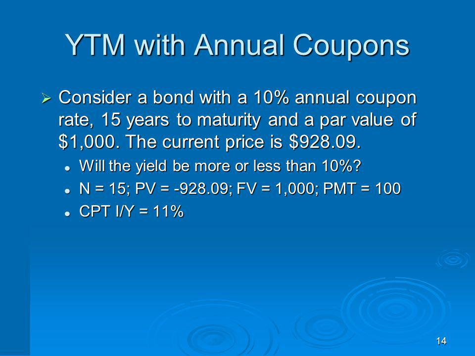 14 YTM with Annual Coupons Consider a bond with a 10% annual coupon rate, 15 years to maturity and a par value of $1,000. The current price is $928.09