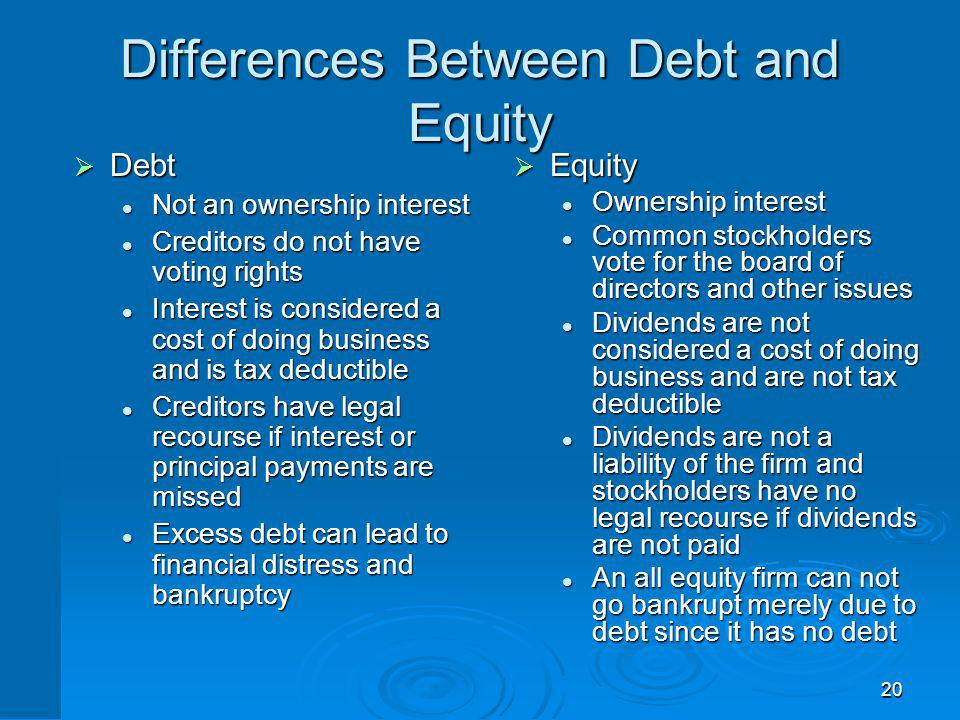 20 Differences Between Debt and Equity Debt Debt Not an ownership interest Not an ownership interest Creditors do not have voting rights Creditors do