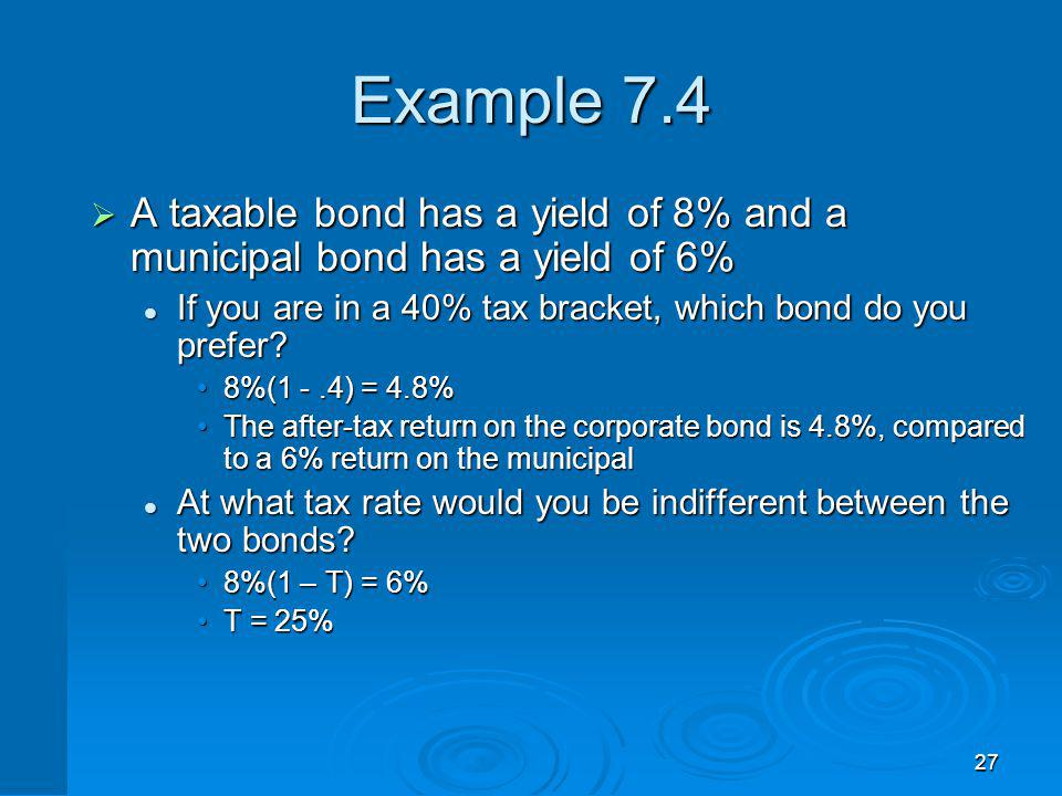 27 Example 7.4 A taxable bond has a yield of 8% and a municipal bond has a yield of 6% A taxable bond has a yield of 8% and a municipal bond has a yie