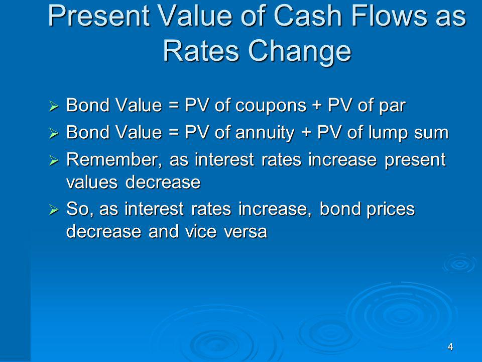 4 Present Value of Cash Flows as Rates Change Bond Value = PV of coupons + PV of par Bond Value = PV of coupons + PV of par Bond Value = PV of annuity