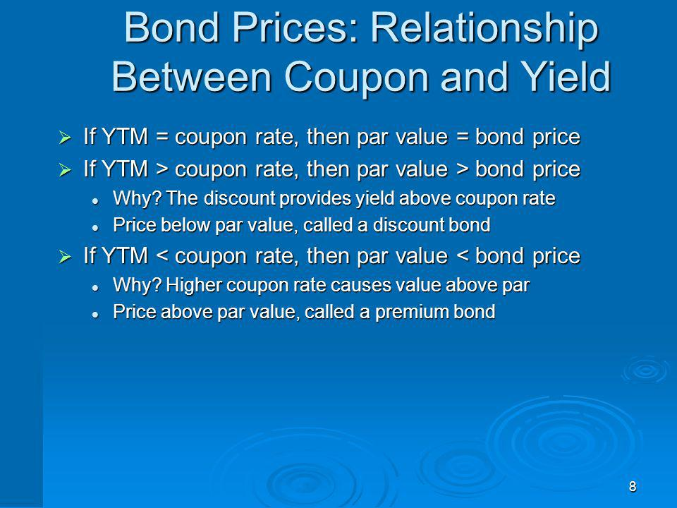 8 Bond Prices: Relationship Between Coupon and Yield If YTM = coupon rate, then par value = bond price If YTM = coupon rate, then par value = bond pri