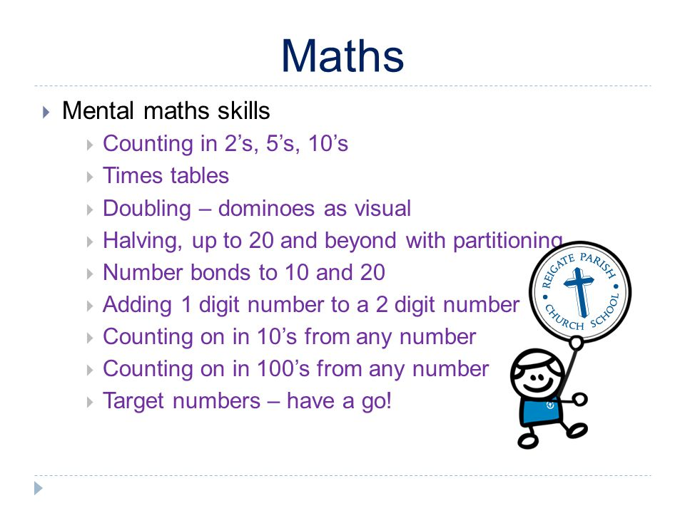 Maths Mental maths skills Counting in 2s, 5s, 10s Times tables Doubling – dominoes as visual Halving, up to 20 and beyond with partitioning Number bon