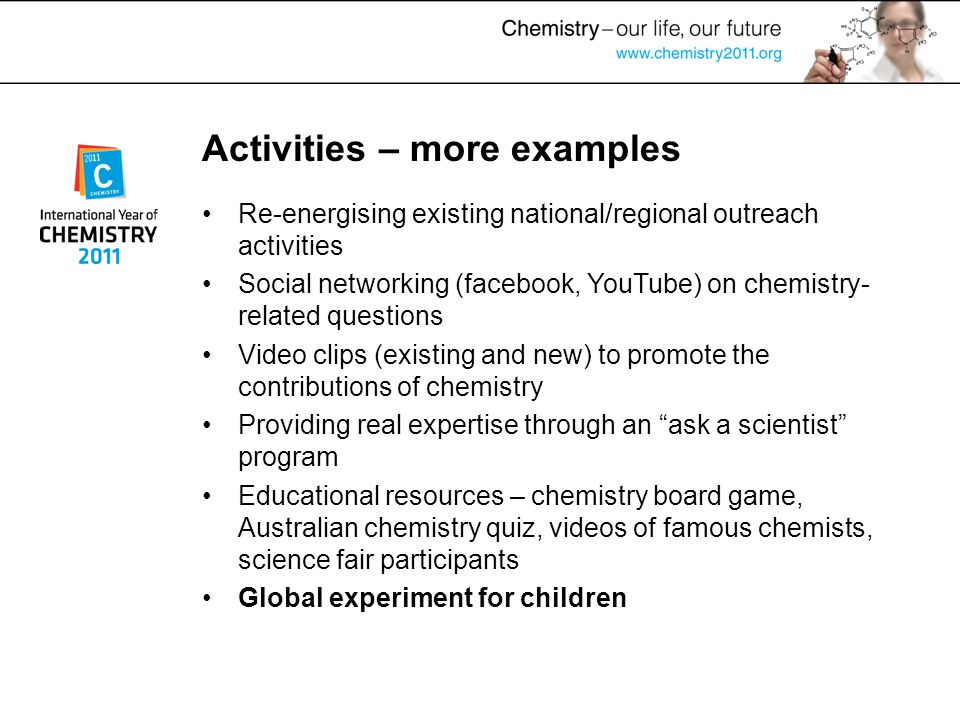Activities – more examples Re-energising existing national/regional outreach activities Social networking (facebook, YouTube) on chemistry- related qu
